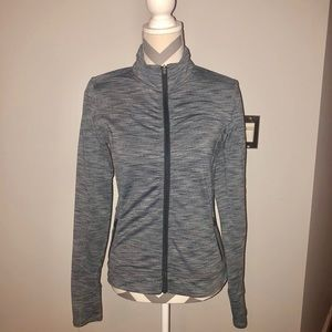 Athleta Fitted Gray ZIP Jacket Thumbholes Run XS